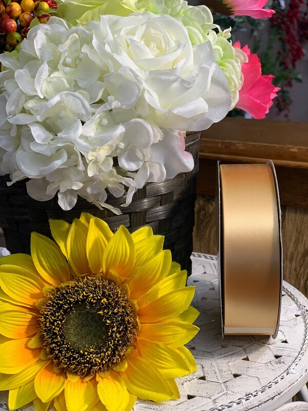 400-09GOLD - #09 Poly Satin Ribbon (unwired) 100 Yards