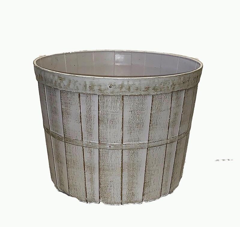 """PLX7000-11WW - 11"""" White wash plastic bushel pot $3.95 ea Case Pk: 50"""