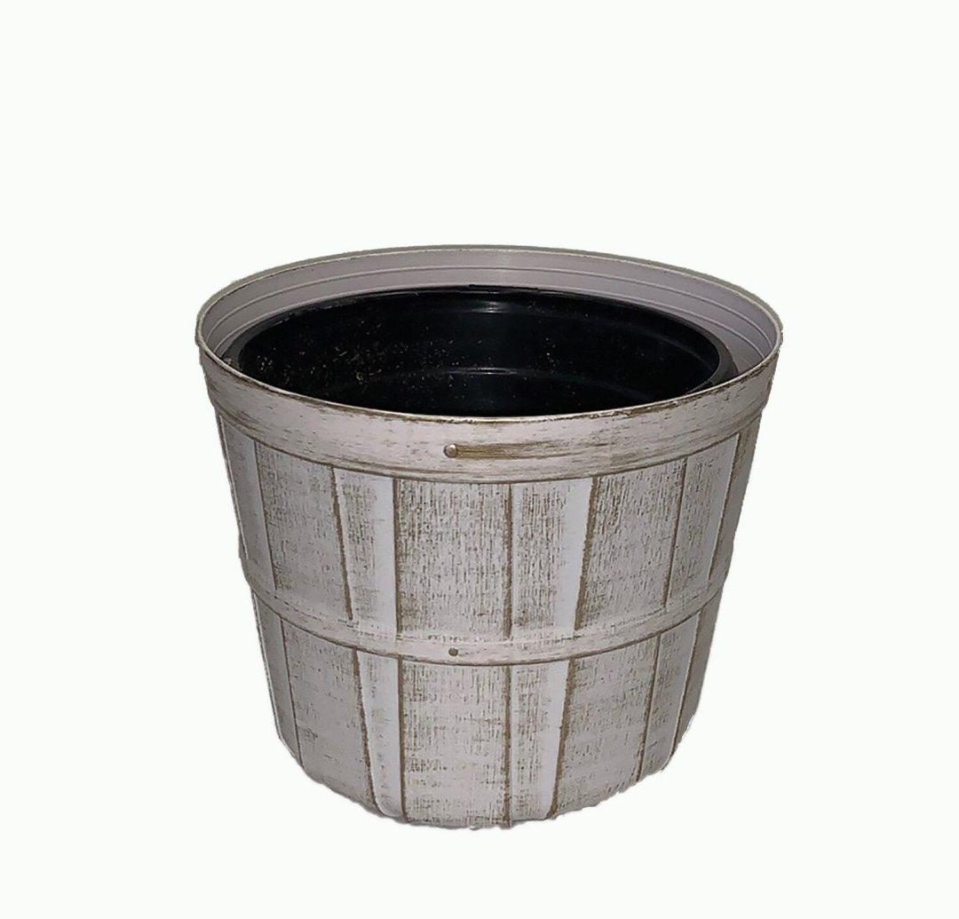 """PLX7000-7WW - 7"""" White wash plastic bushel pot $1.50 ea Case Pk: 96"""