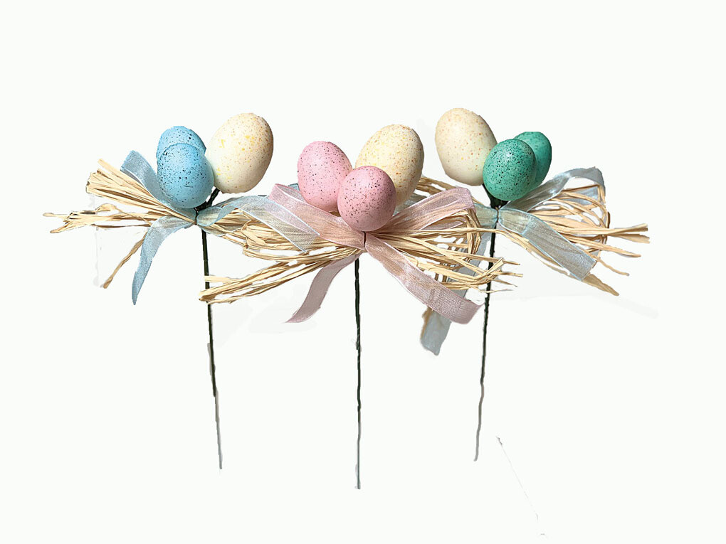 PL2006 -  Assorted color easter eggs pick x3