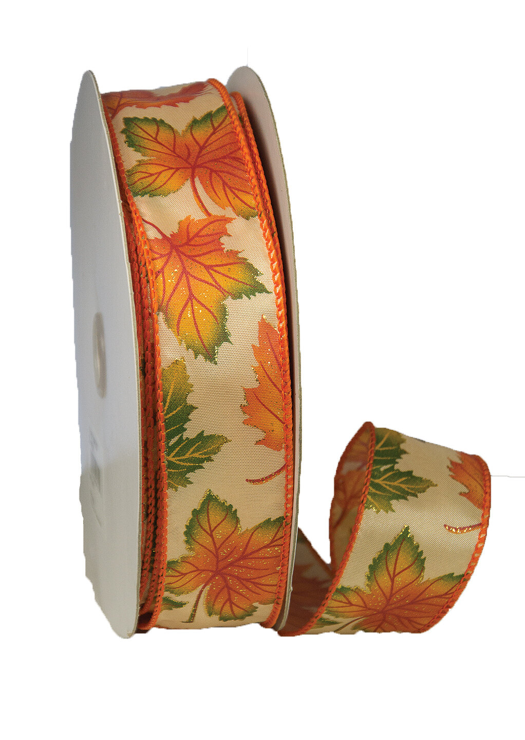 MAPLF9 - #9 Wired Sparkle maple leaf ribbon