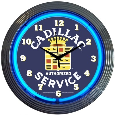 Cadilllac Authorized Service Neon Clock