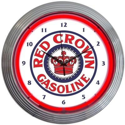 Red Crown Gasoline Gas Neon Clock