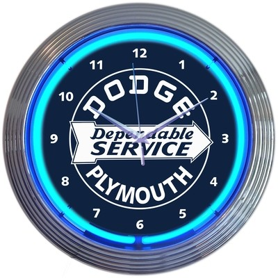 Dodge Plymouth Dependable Service Neon Clock