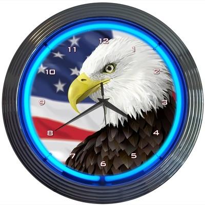 USA Bald Eagle Neon Clock