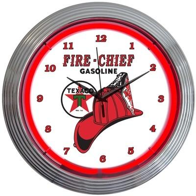 Texaco Fire Chief Gasoline Neon Clock