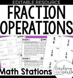 5th Grade Fraction Operation Stations   Store - Lindsay Perro [ 1500 x 1500 Pixel ]