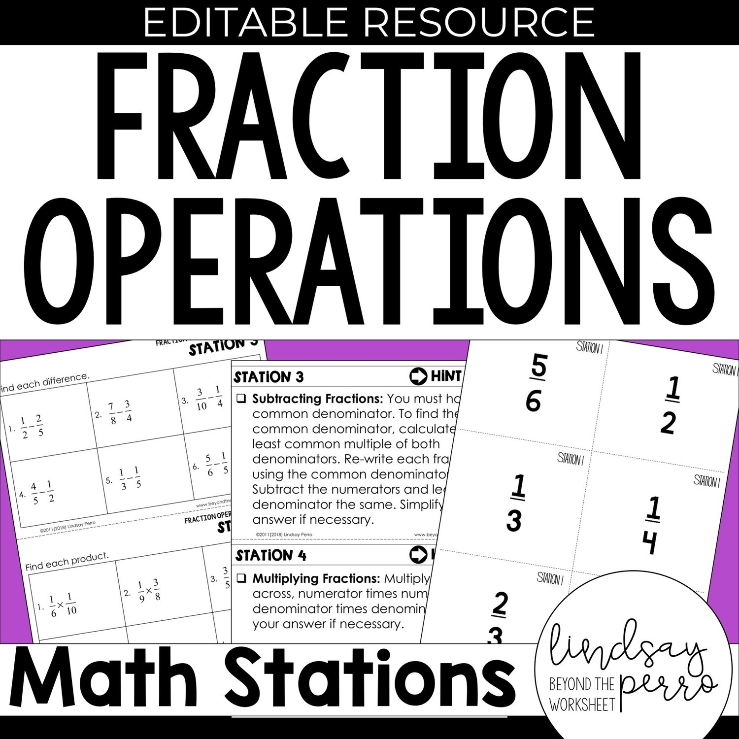 hight resolution of 5th Grade Fraction Operation Stations   Store - Lindsay Perro