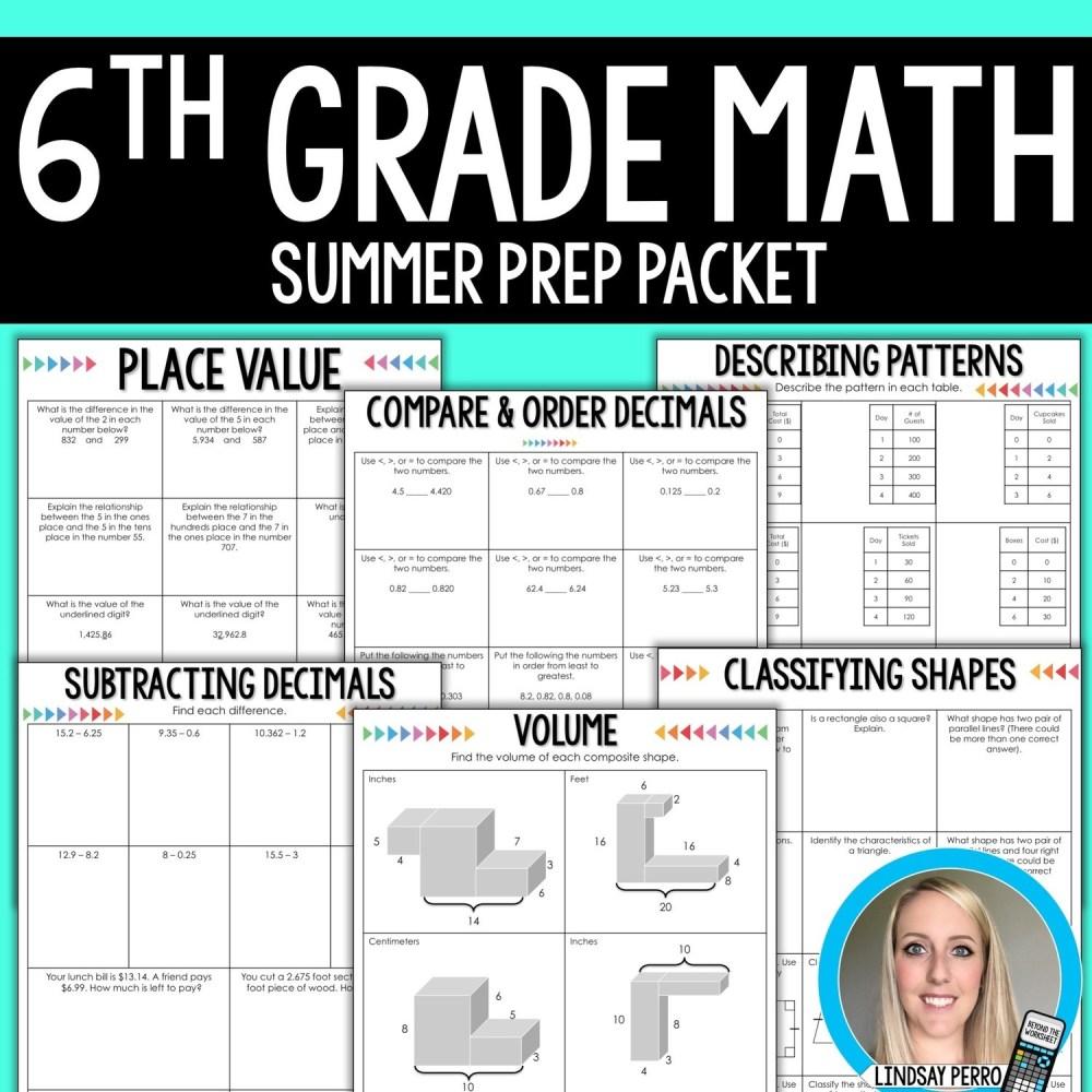 medium resolution of 6th Grade Math Summer Prep Packet