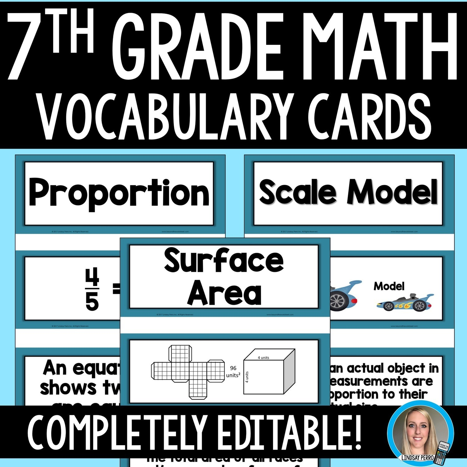 7th Grade Math Vocabulary Cards   Store - Lindsay Perro [ 1200 x 1200 Pixel ]