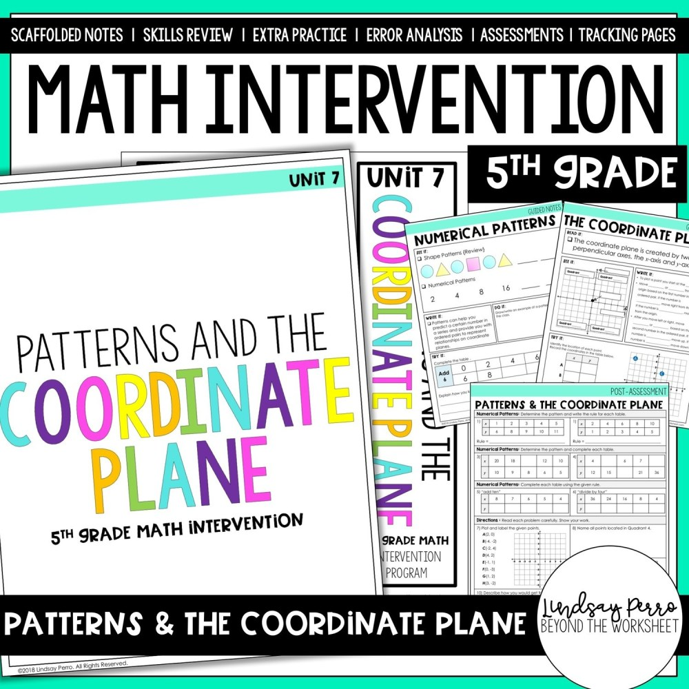 medium resolution of 5th Grade Intervention: Patterns \u0026 The Coordinate Plane   Store - Lindsay  Perro
