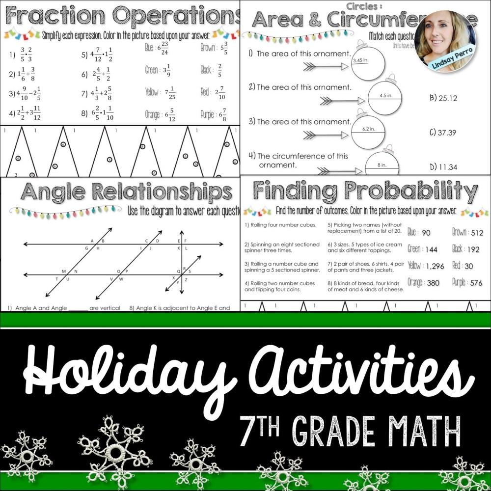 medium resolution of 7th Grade Holiday Math Activities