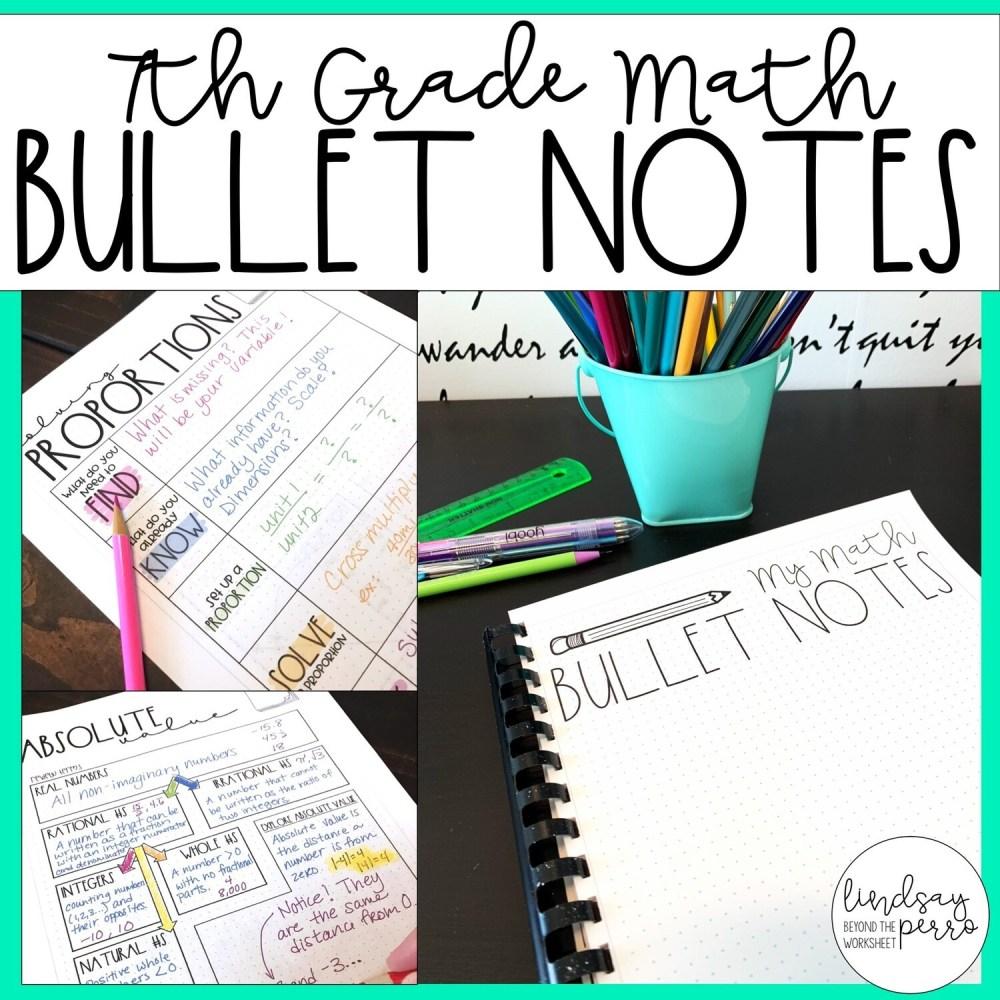 medium resolution of 7th Grade Math Bullet Notes