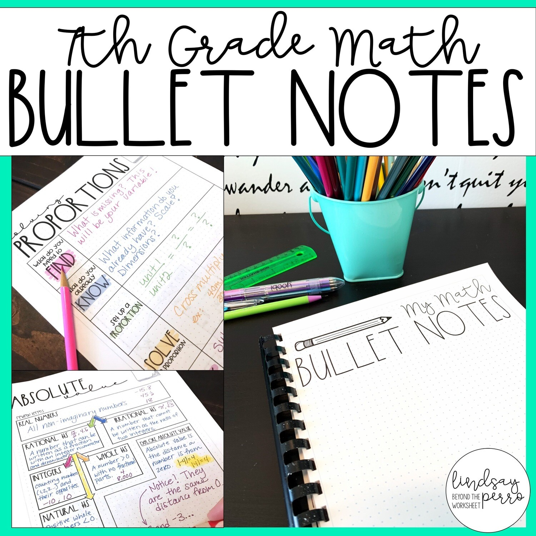 hight resolution of 7th Grade Math Bullet Notes