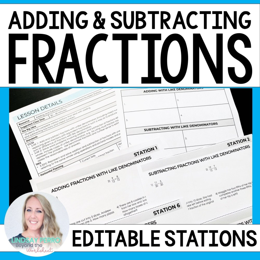 medium resolution of Adding \u0026 Subtracting Fractions \u0026 Mixed Number Stations   Store - Lindsay  Perro