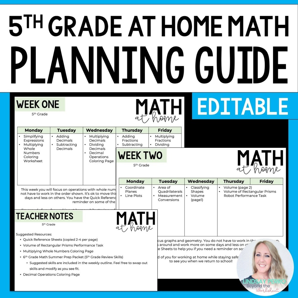 medium resolution of 5th Grade Math Home Learning Template   Store - Lindsay Perro