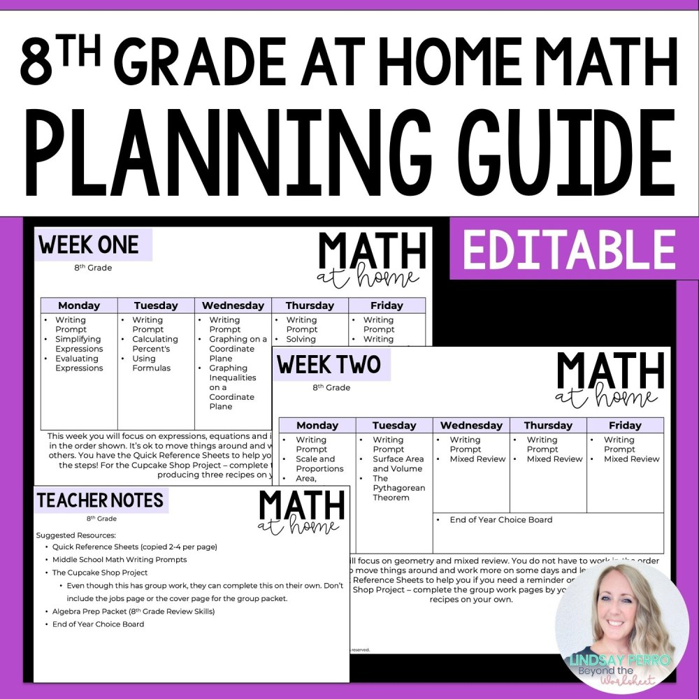 medium resolution of 8th Grade Math Home Learning Template