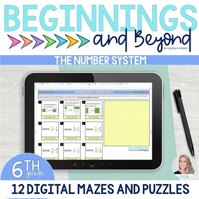 6th Grade Number System Digital Maze and Puzzle Bundle