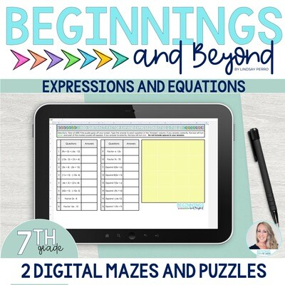 7th Grade Equations and Expressions Digital Maze and Puzzle