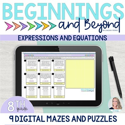 8th Grade Equations and Expressions Digital Maze and Puzzle Bundle