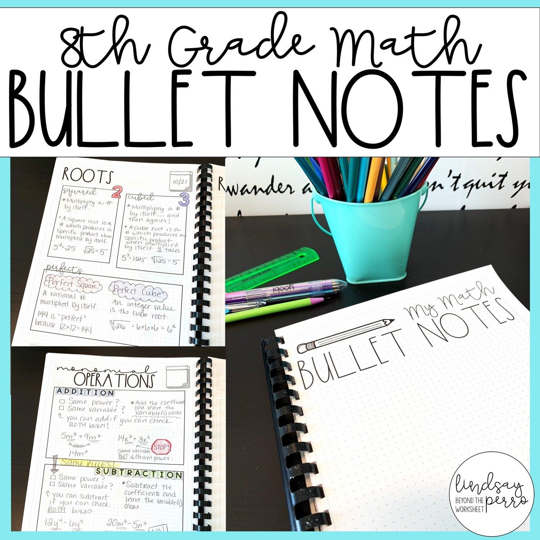 8th Grade Math Bullet Notes   Store - Lindsay Perro [ 1200 x 1200 Pixel ]