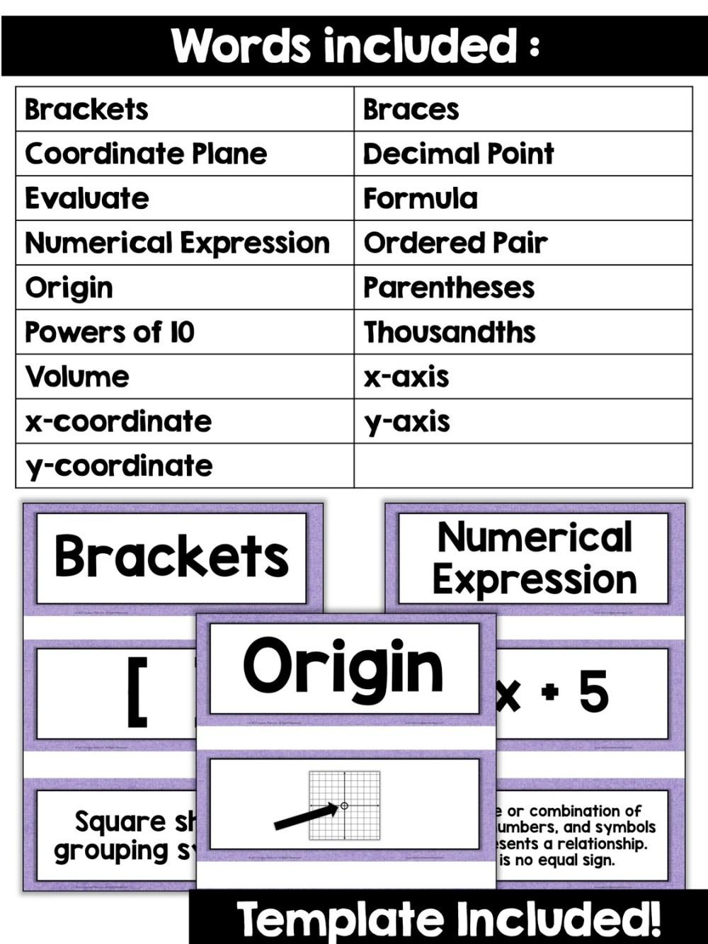medium resolution of 5th Grade Math Vocabulary Cards