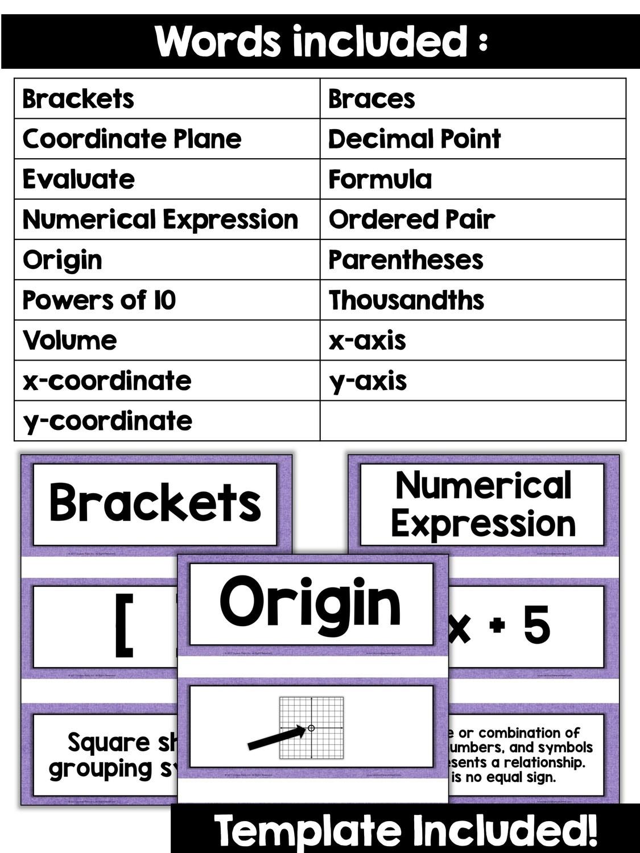 hight resolution of 5th Grade Math Vocabulary Cards