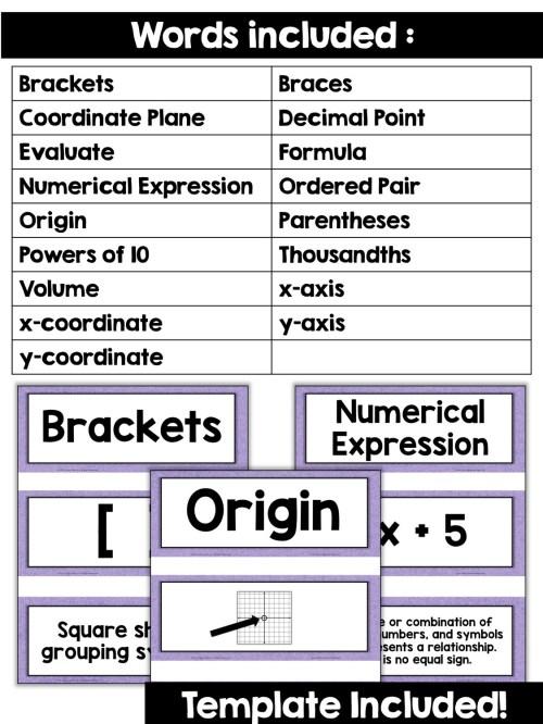 small resolution of 5th Grade Math Vocabulary Cards