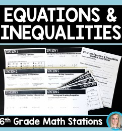 6th Grade Equations and Inequalities Stations   Store - Lindsay Perro [ 1500 x 1500 Pixel ]