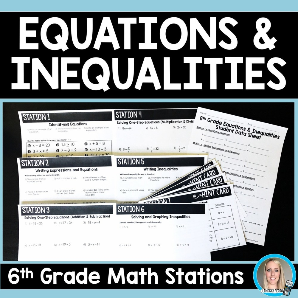 medium resolution of 6th Grade Equations and Inequalities Stations   Store - Lindsay Perro