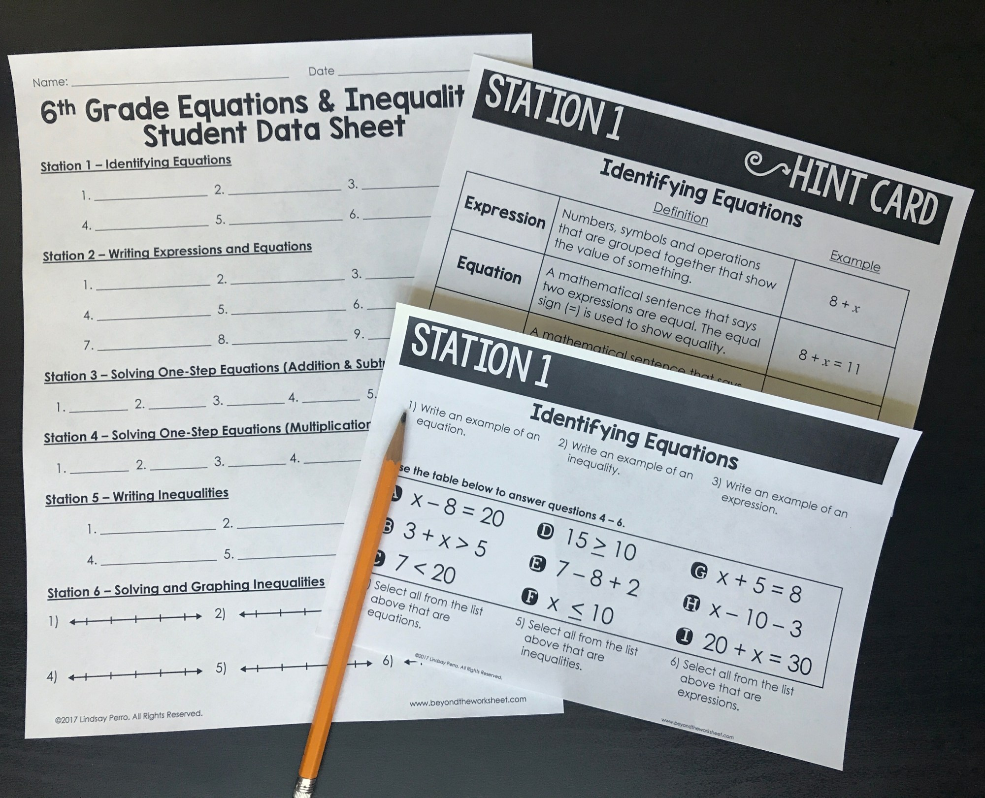 hight resolution of 6th Grade Equations and Inequalities Stations   Store - Lindsay Perro