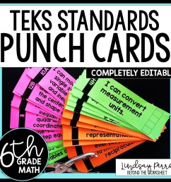 6th Grade Math TEKS I Can Statement Punch Cards [ 1500 x 1500 Pixel ]