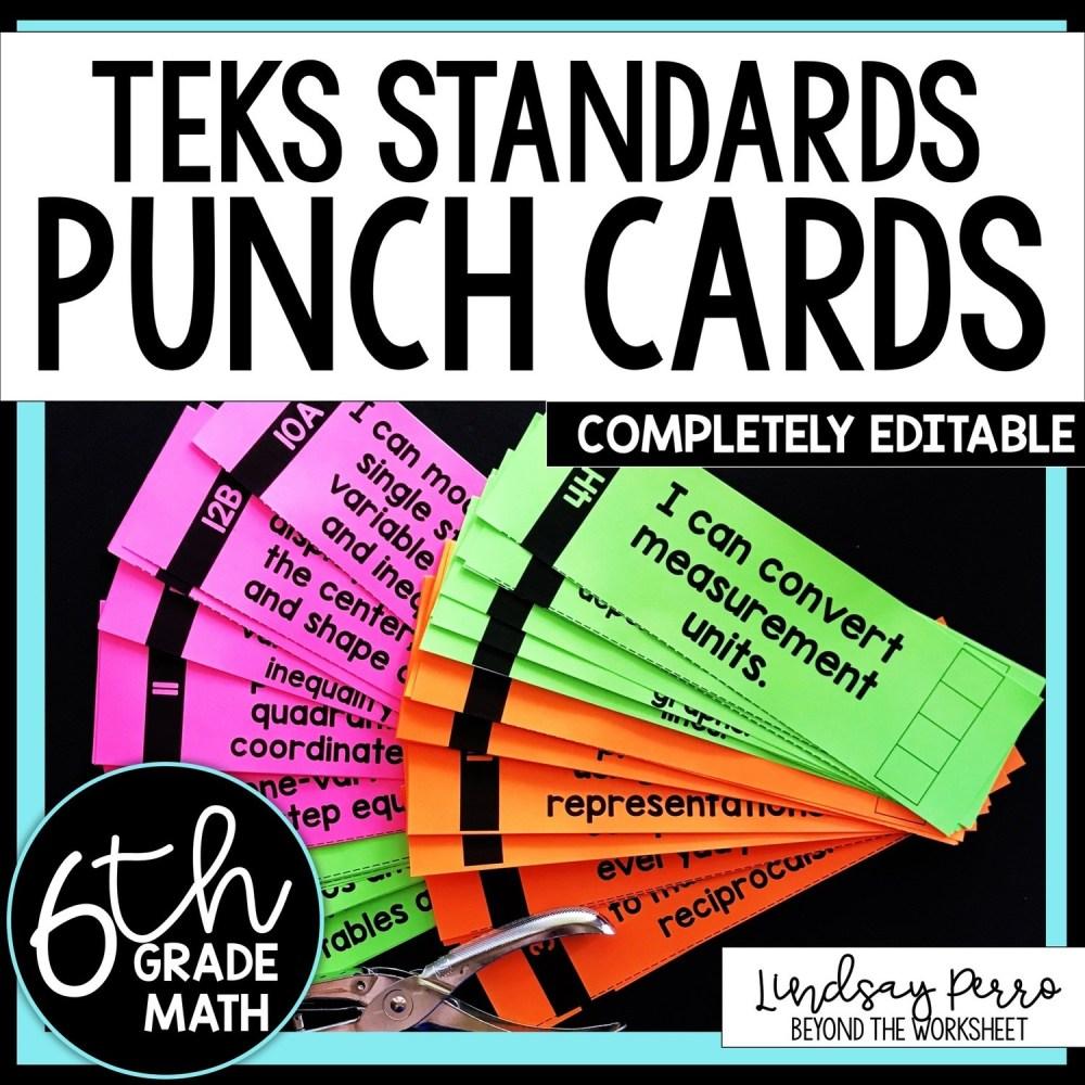 medium resolution of 6th Grade Math TEKS I Can Statement Punch Cards