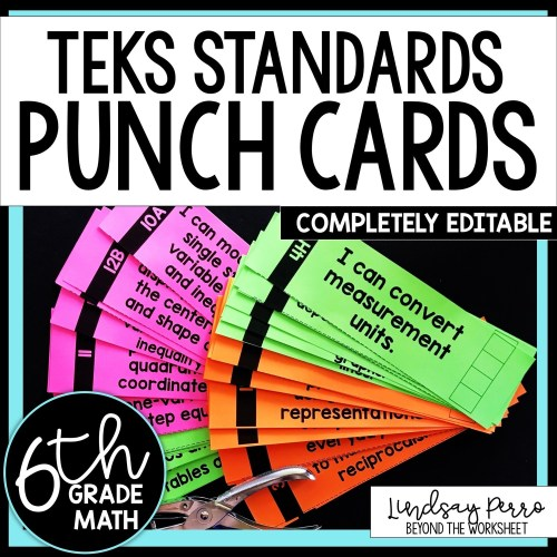 small resolution of 6th Grade Math TEKS I Can Statement Punch Cards