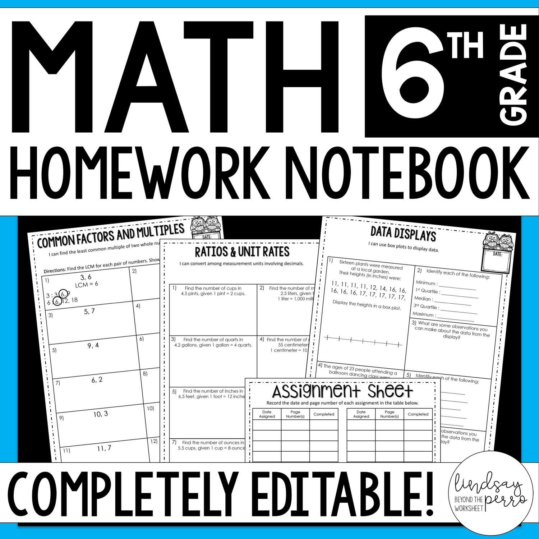 6th Grade Math Homework