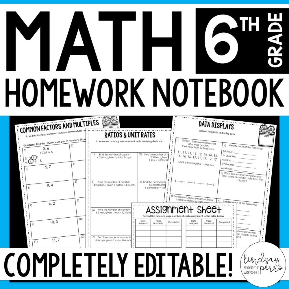 medium resolution of 6th Grade Math Homework - A Year of Editable Homework   Store - Lindsay  Perro