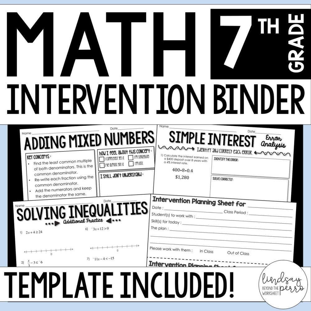 medium resolution of 7th Grade Math Intervention Binder