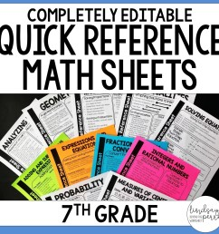 7th Grade Math Quick Reference Sheets   Store - Lindsay Perro [ 1500 x 1500 Pixel ]