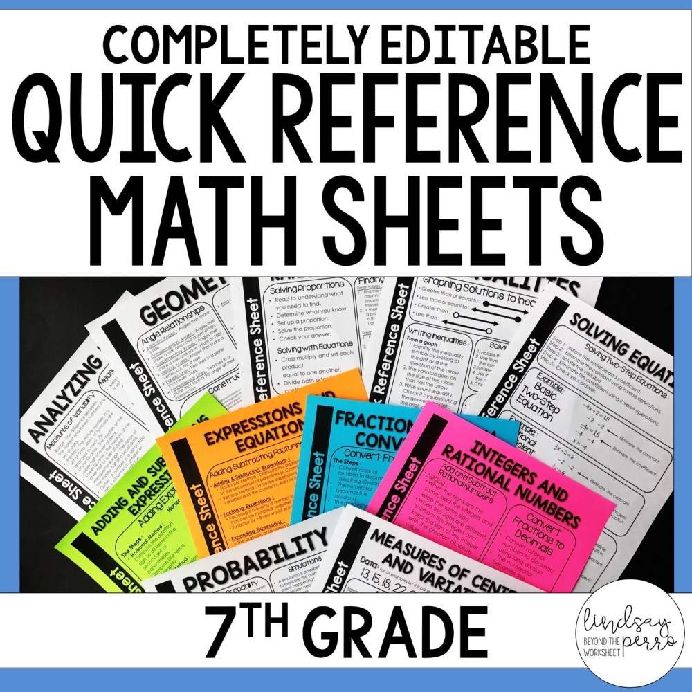 medium resolution of 7th Grade Math Quick Reference Sheets   Store - Lindsay Perro