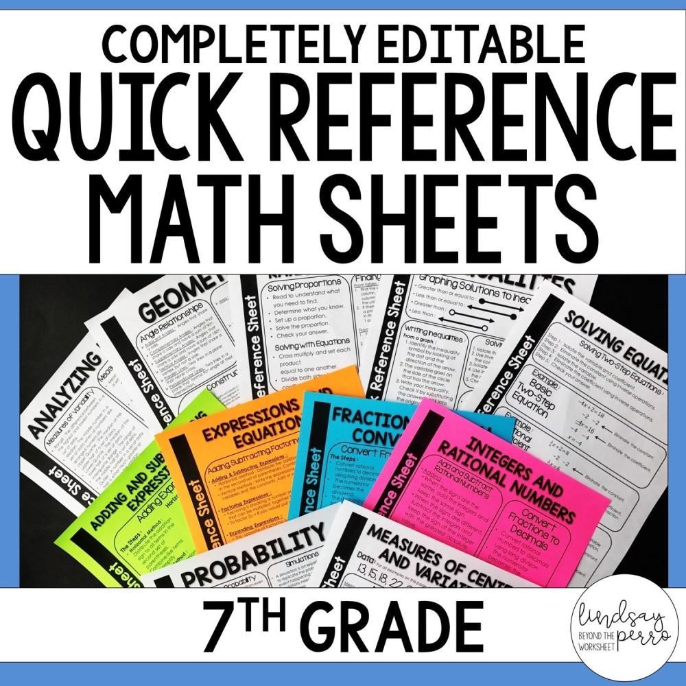 medium resolution of 7th Grade Math Quick Reference Sheets   Store - Lindsay Perro