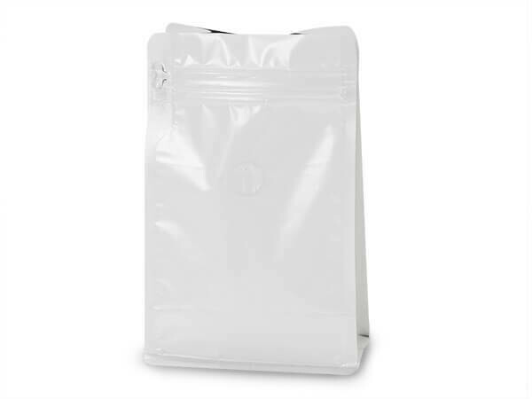 12 oz White Coffee Bags with Degassing Valve, 25 pack