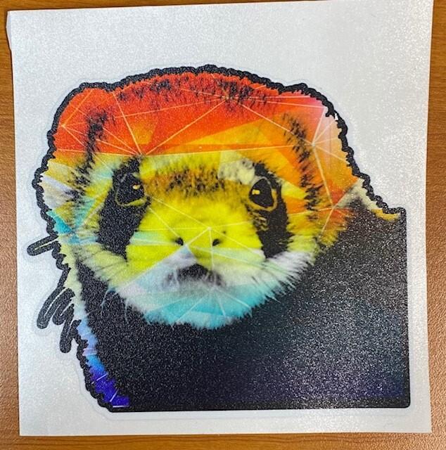 Rainbow Geo Ferret Sticker