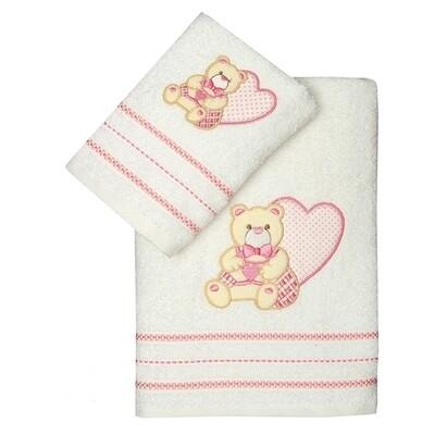 Σετ Πετσέτες 2 τεμ. Heart White-Pink