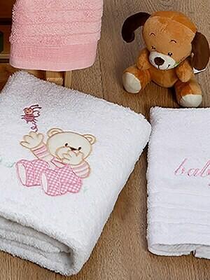 Σετ Πετσέτες 2 τεμ. Bear White-Pink