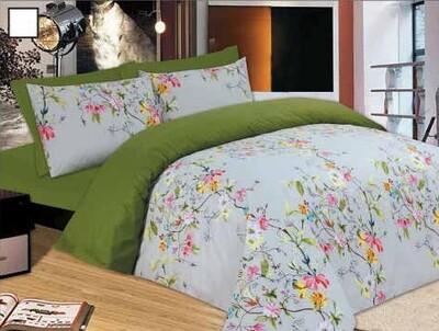 Σετ Πάπλωμα Μονό Flowers Green - Le Blanc Premium