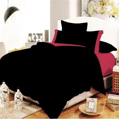 Παπλωματοθήκη Υπέρδιπλη Cotton Line Black - Red - Komvos