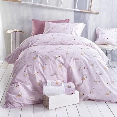 Σετ Πάπλωμα Μονό Hippo Pink - Rythmos