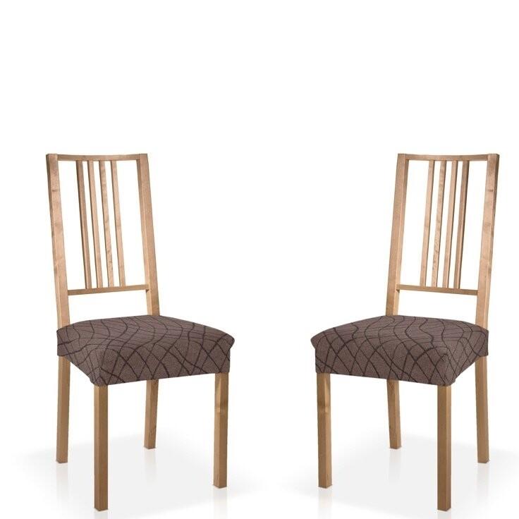Σετ 2 τεμ. Κάλυμμα Κάθισμα Καρέκλας Ελαστικό Waves Γκρι - Mc Decor