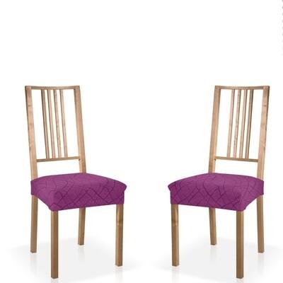 Σετ 2 τεμ. Κάλυμμα Κάθισμα Καρέκλας Ελαστικό Waves Μωβ - Mc Decor