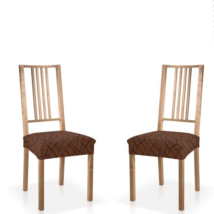 Σετ 2 τεμ. Κάλυμμα Κάθισμα Καρέκλας Ελαστικό Waves Καφέ - Mc Decor